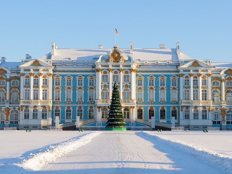 New Year in Arctic Circle Tour. Catherine Palace with Christmas tree